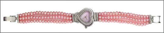 Pink Heart Shaped Pearl Watch