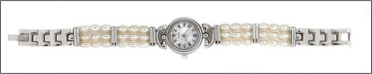 Round Silver Face Pearl Watch